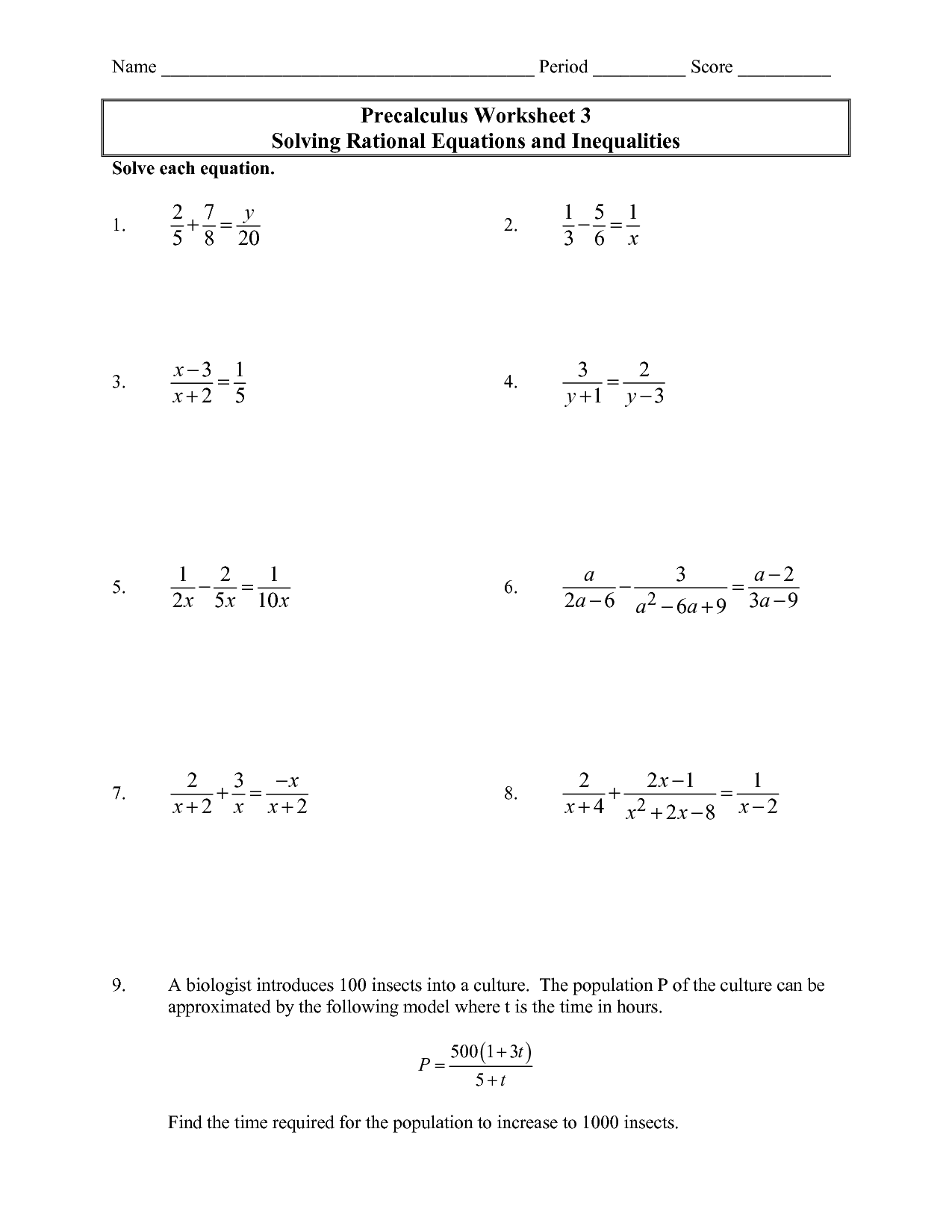 hight resolution of Solving Rational Equations and Inequalities – Precalculus