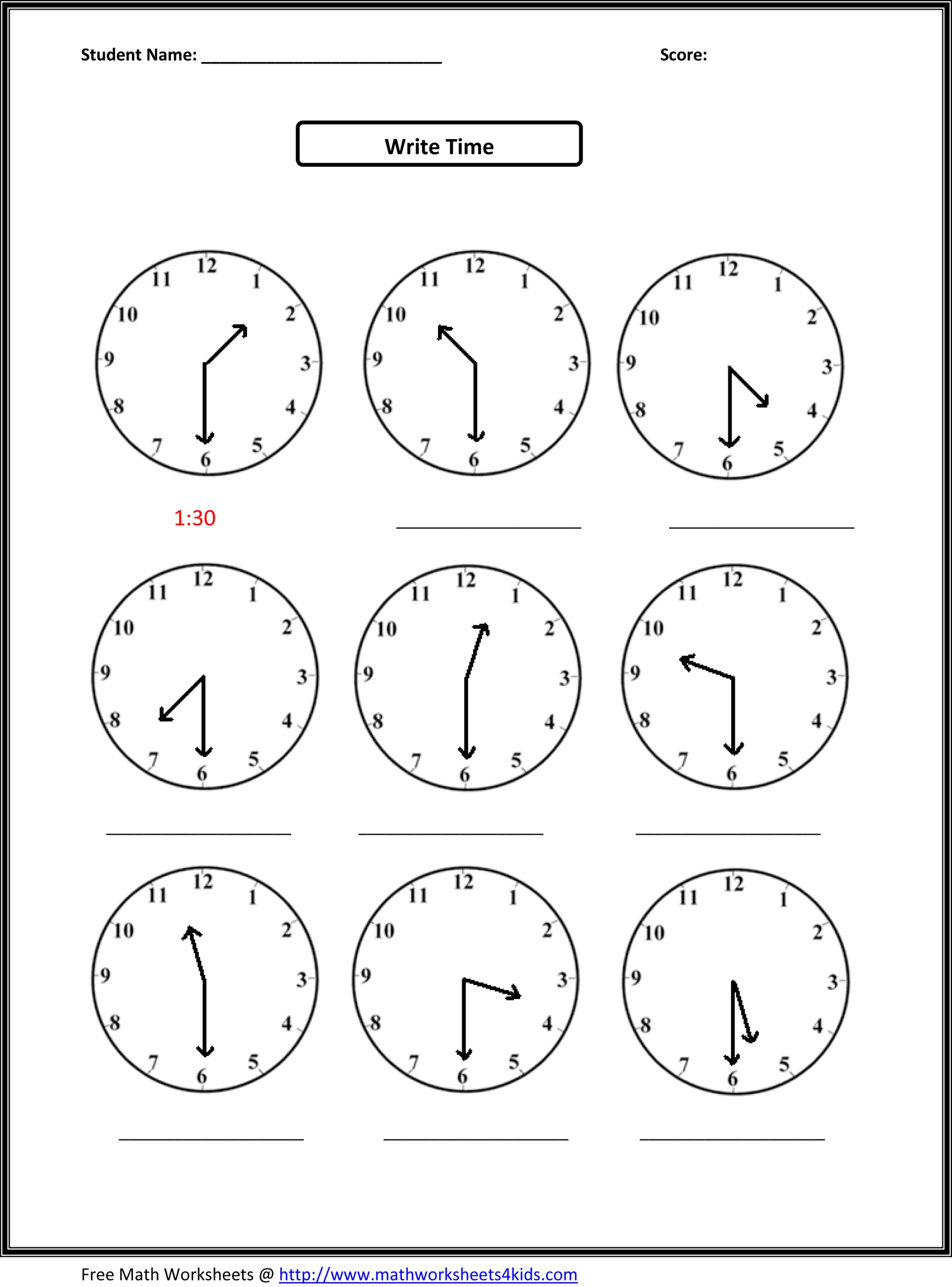 hight resolution of Telling Time Practice Worksheet for 2nd Graders