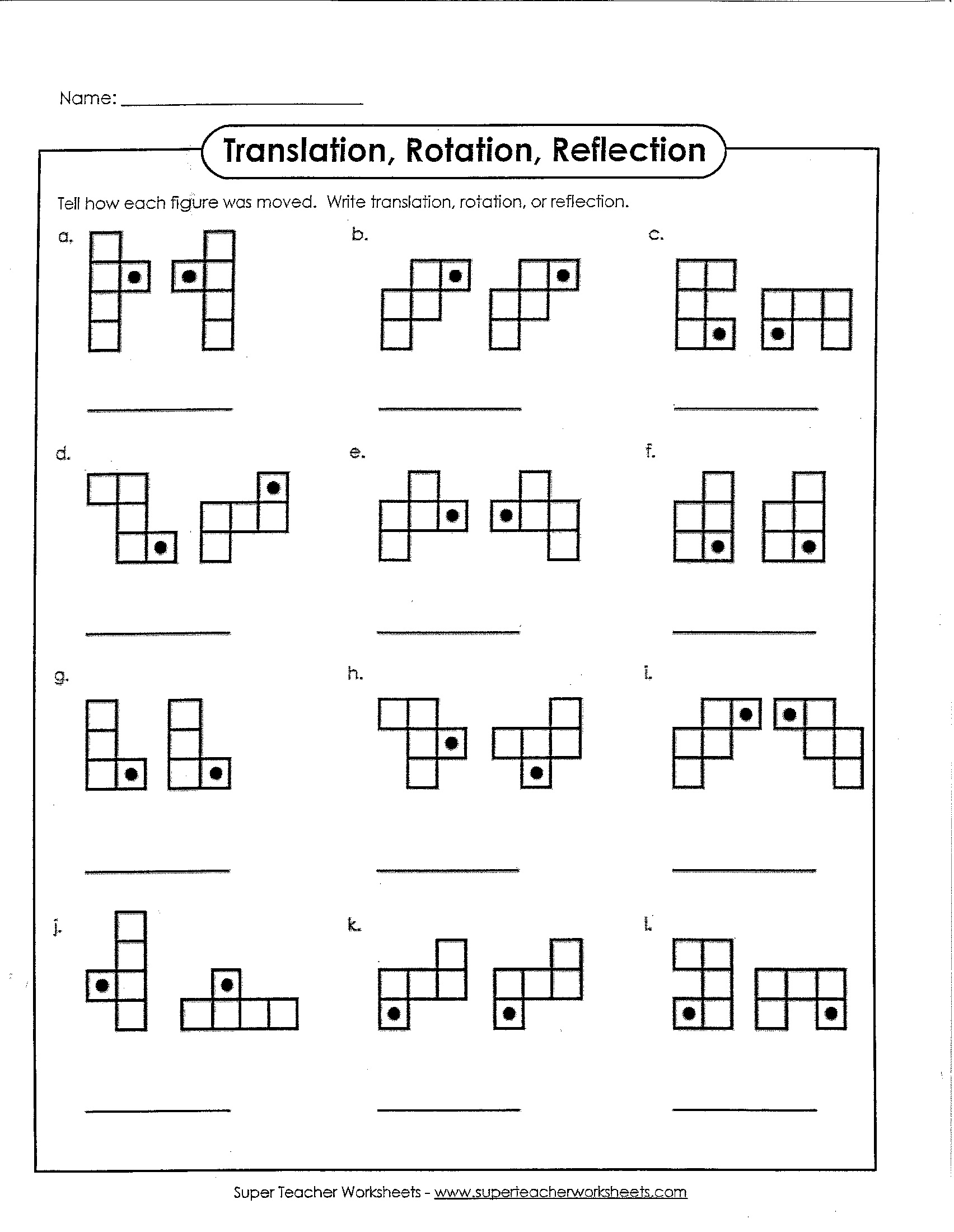Worksheet Identifying Translation Transformation Reflection