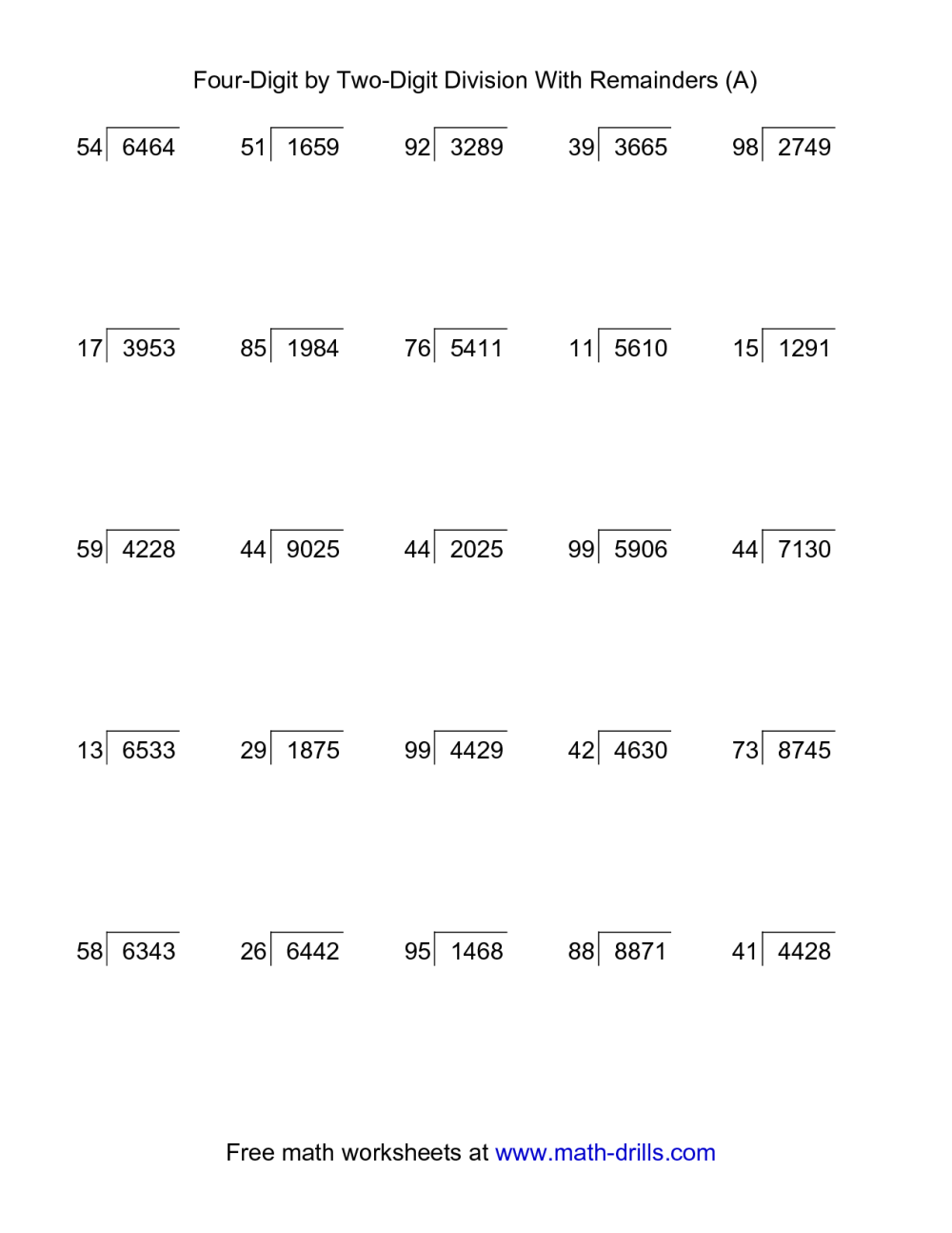 medium resolution of Two and Four Digit Divisions with Remainders Practice