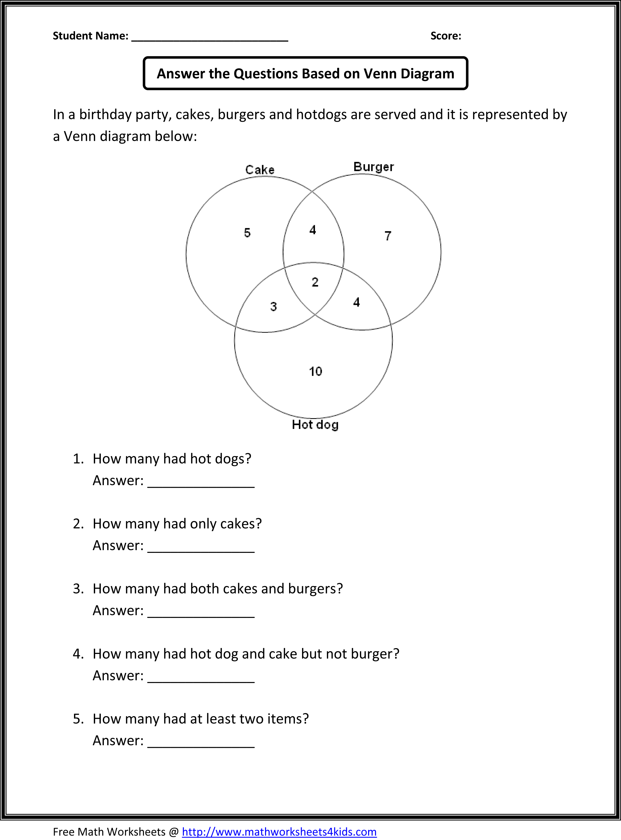 Venn Diagram Practice Worksheet