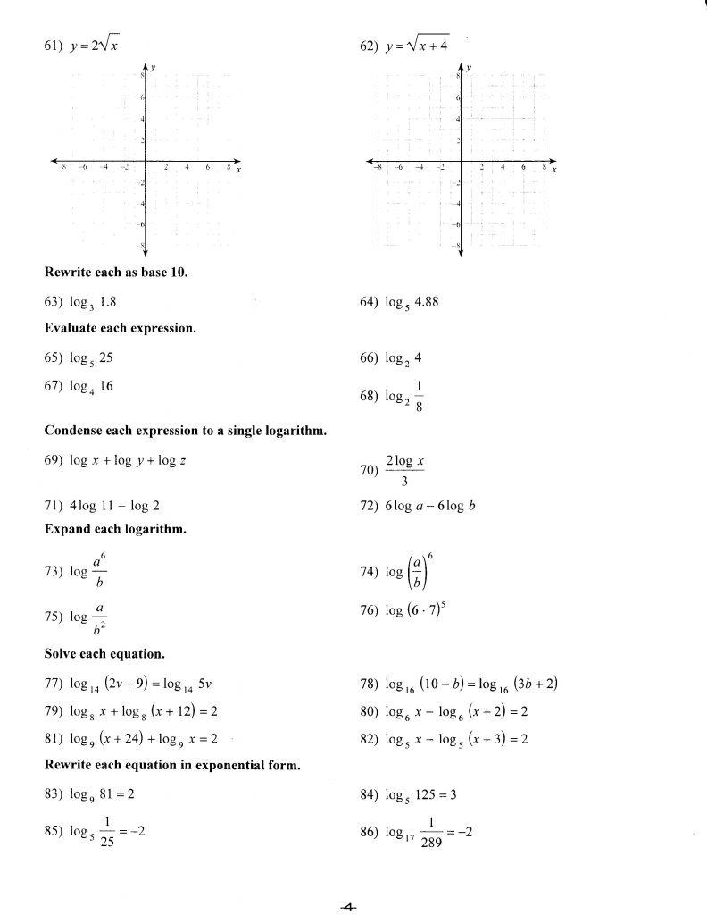 hight resolution of Worksheet for 9th Grade Math – Algebra