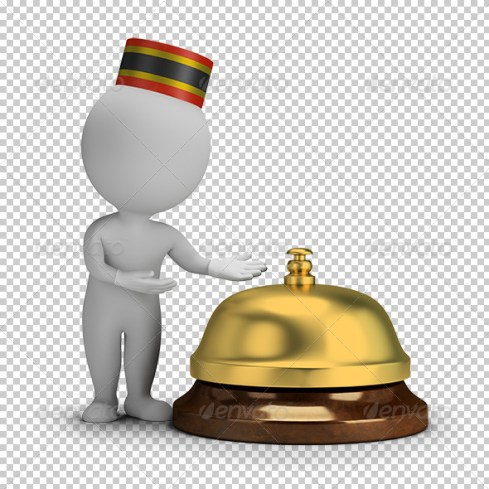 3D Small People - Bellboy and Service Bell pr