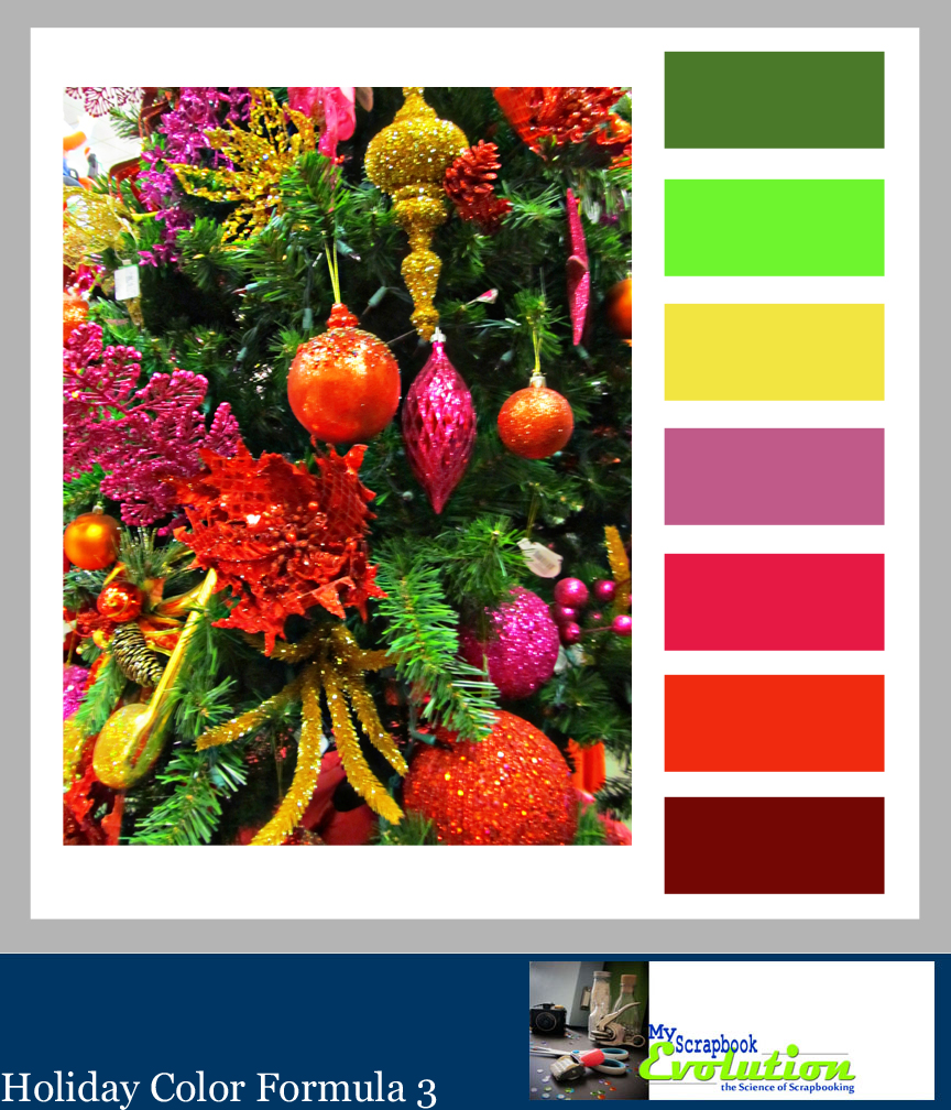 Holiday Color formula 3 by MyScrapbookEvolution adds a bit of a neon glow to a traditional Christmas color palettes. Click to see more palettes.