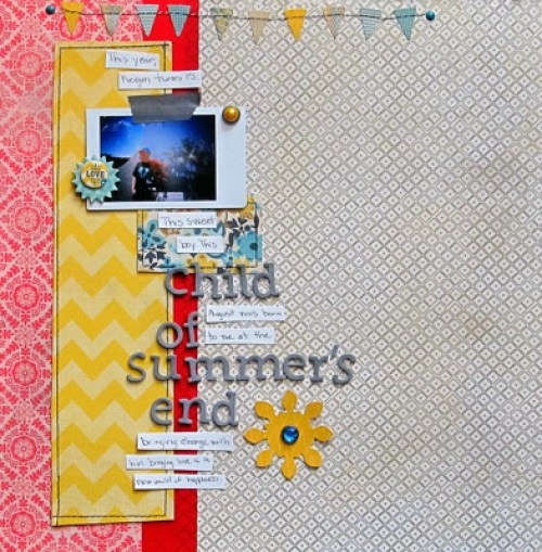 Christy Strickler- Child of Summer's End-double exposure scrapbook layout for Get It Scrapped