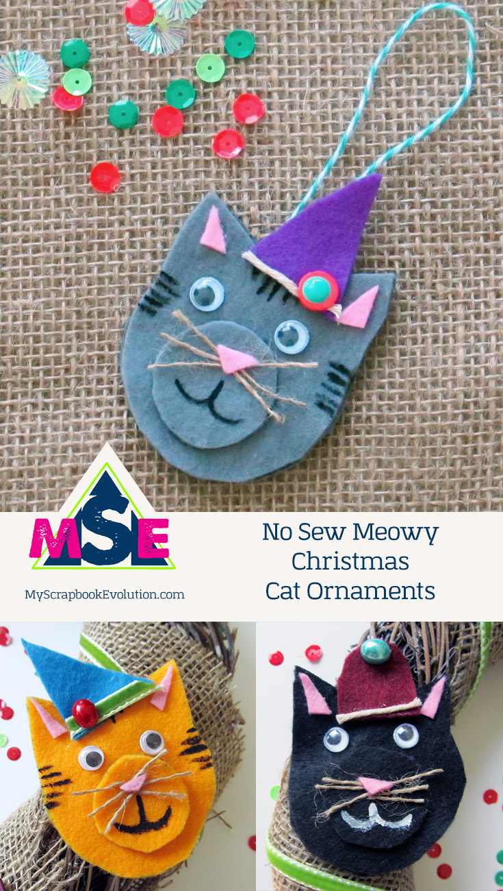 No Sew Meowy Christmas Cat Ornaments