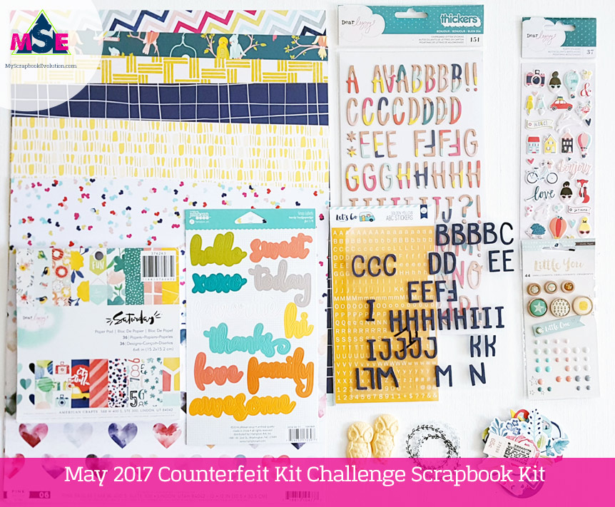 May 2017 Counterfeit Kit Challenge Scrapbook Kit