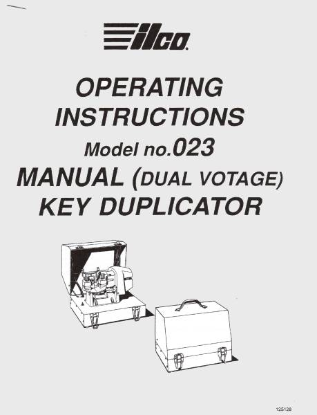 ILCO 023 Key Machine Operating Manual