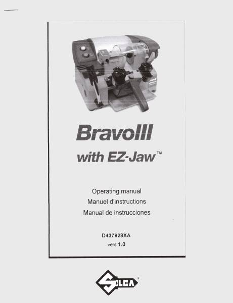 Silca Bravo III 3 Key Machine Operating Manual