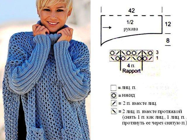 Poncho - Veste Wings avec aiguilles à tricoter. Tatiana travail. Tricot.