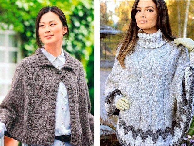 Aiguilles à tricoter: poncho et sac à main. Tricot.