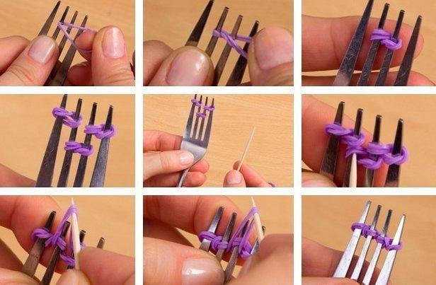 Comment tisser des bracelets de caoutchouc: schémas avec une description détaillée