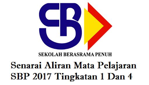 Senarai Aliran Mata Pelajaran SBP 2017