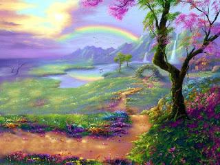 Gambar Cat Pemandangan Air Terjun