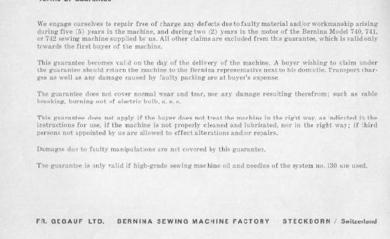 Bernina 740_741_742 Sewing Machine Instruction Manual for