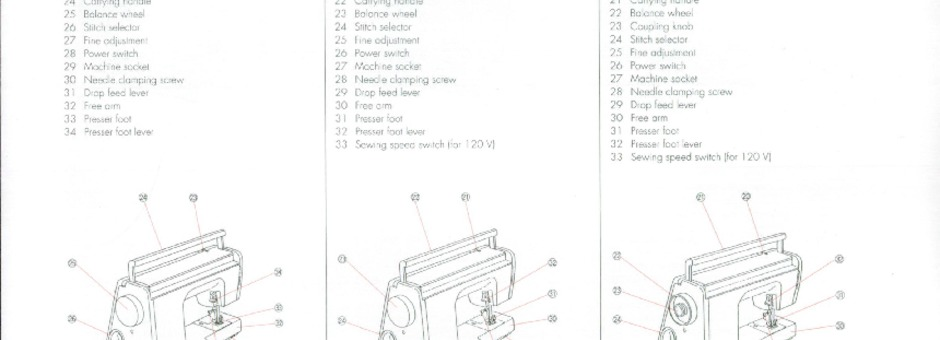 Elna 3003-3005-3007 Sewing Machine Instruction Manual for