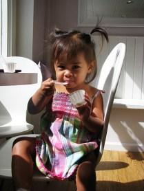 Amara loves the banana pudding.