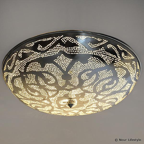 Egyptische plafondlamp Warda ronde verzilverde