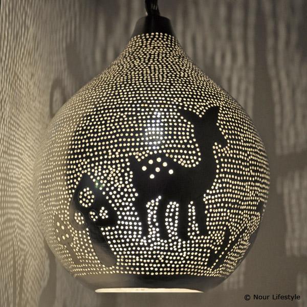 Kinderlamp Gaba hanglamp van verzilverd koper met ronde