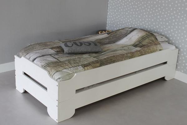 lit empilable twens 90x200 2 lits en opaque blanc bois de pin massif 2 sommier gratuit