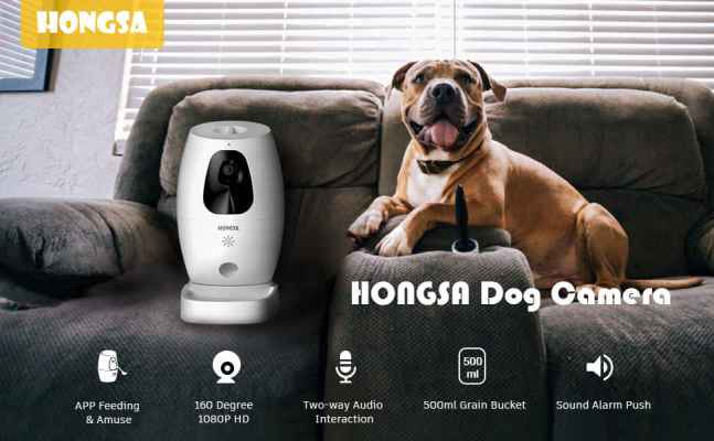 HONGSA Smart Pet Camera Treat Dispenser Tossing