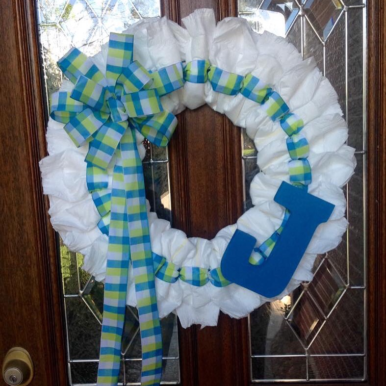 Diaper Wreath with Blue Plaid Ribbon and Initial Detail