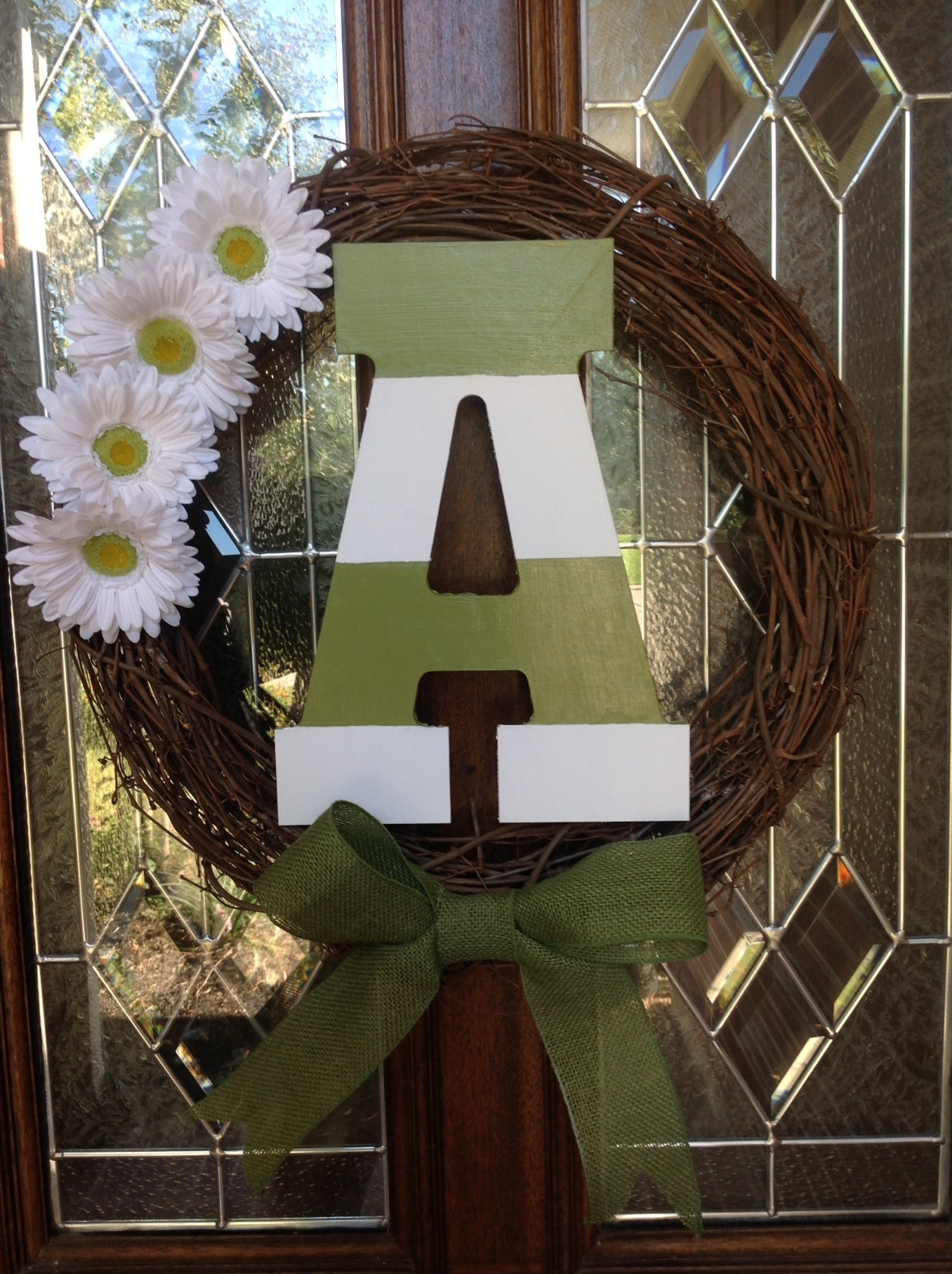 Natural Vine Wreath with Daisies, Ribbon Accent and Initial by Whimsical Wreaths by Amy