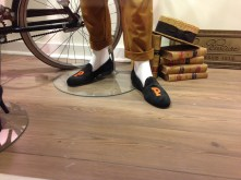 Wearing slippers Princeton style! This was at a Brooks Brothers store.