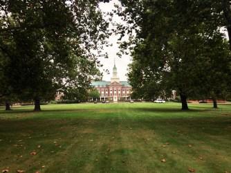 Fuld Hall as I walk down the row of trees