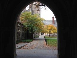 Looking through an arch into Holder Courtyard