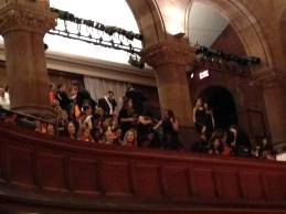 The Princeton Glee Club watches from the balcony