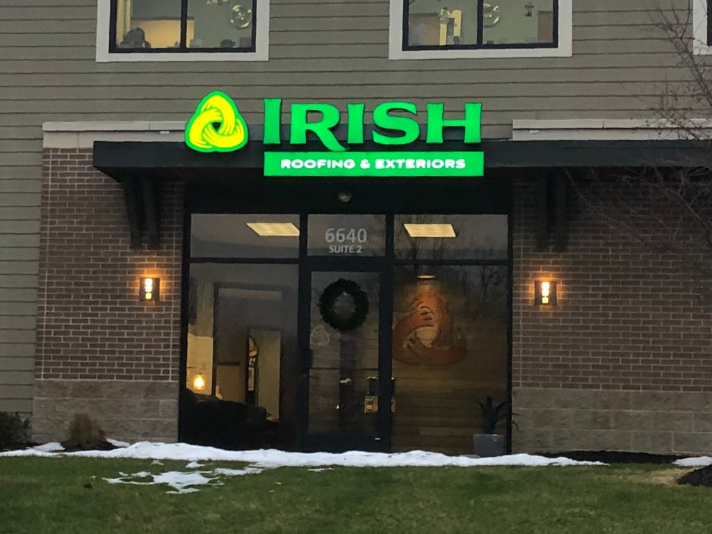Channel Letters Irish Roofing, Lit Up - January 2020