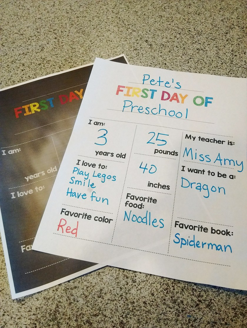 fill in the blank first day of school printable my silly squirts