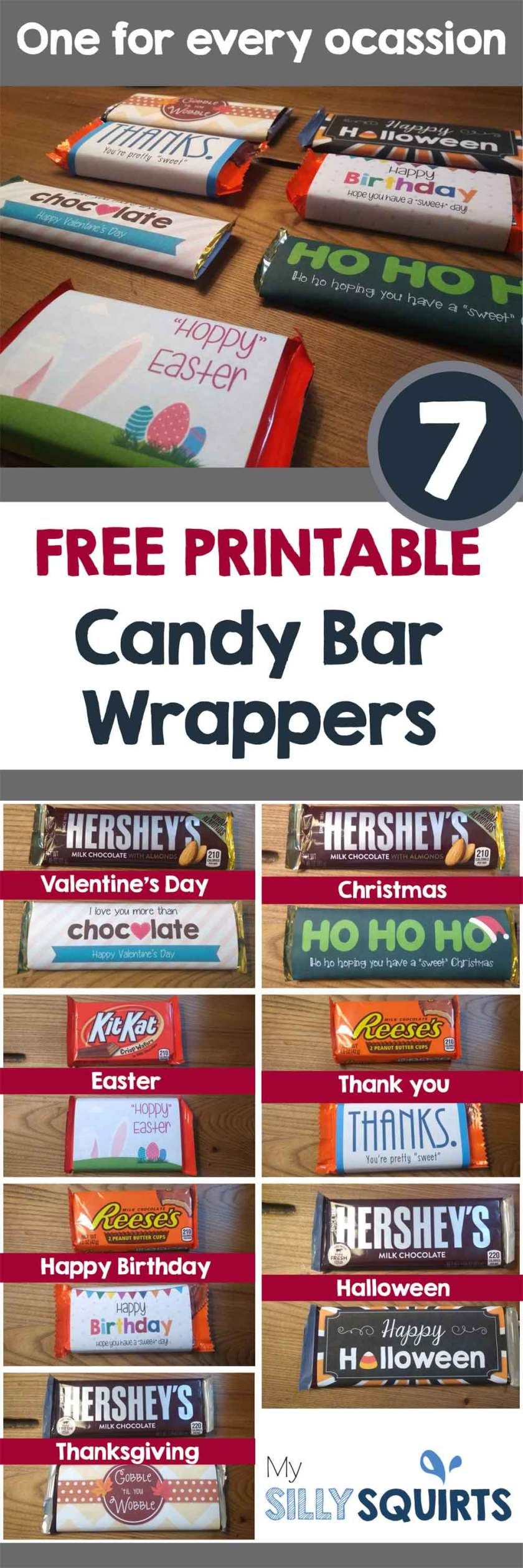 Seven Free Candy Bar Wrappers For Every Occasion My Silly Squirts
