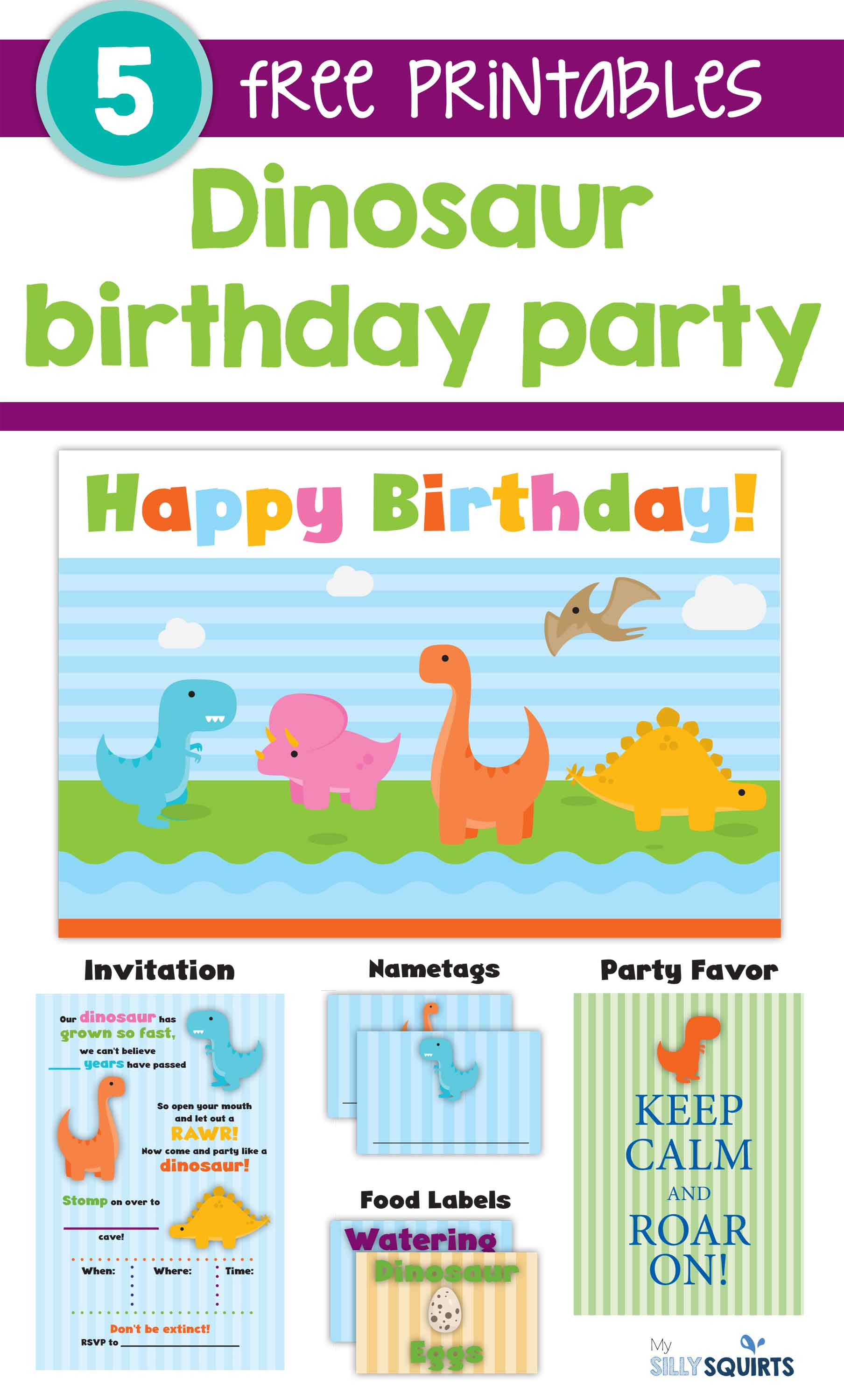 graphic about Free Printable Food Labels for Party referred to as Rawr! Free of charge Dinosaur Birthday Occasion Printables My Foolish Squirts