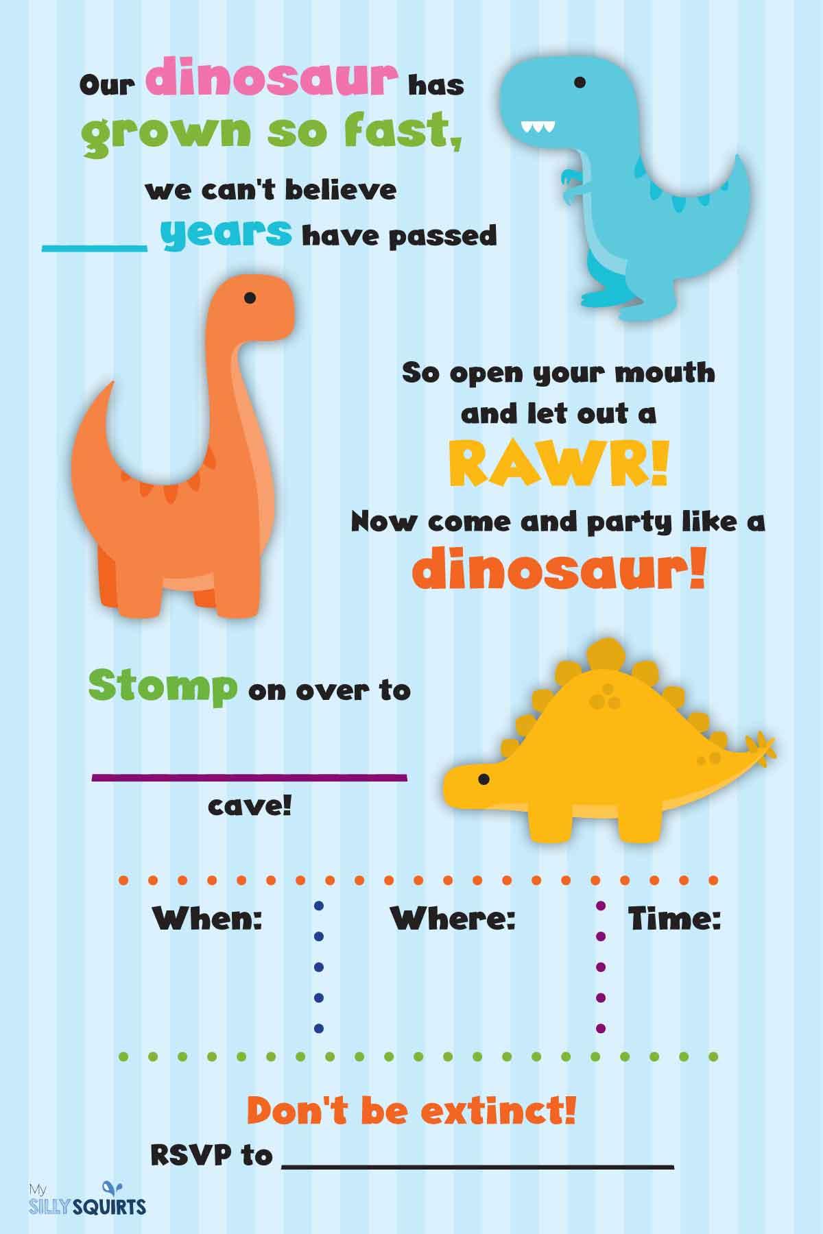 Rawr Free Dinosaur Birthday Party Printables