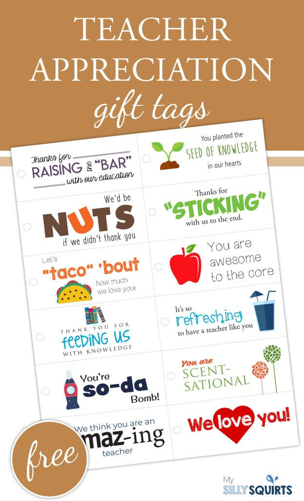 12 Free Printable Teacher Appreciation Gift Tags My Silly Squirts