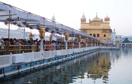 The Golden Temple Amritsar causeway to Sanctum