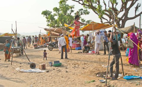 Girl performing at Pushkar camel Fair ground