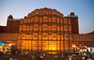 Jaipur by night Hawa Mahal