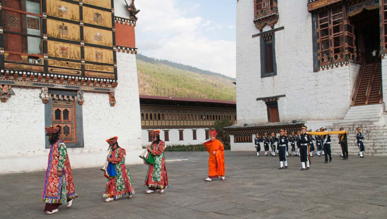 Thimphu Dzong flag lowering ceremony