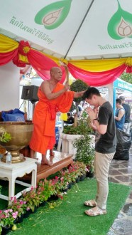 Songkran Bangkok Monk pouring water