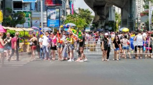 Songkran near silom road