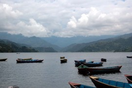 Boats in Phewa Lake Pokara Nepal