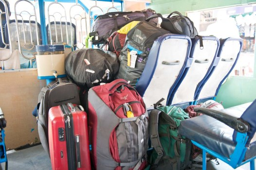 Luggage in tourist boat from Tourist Boat in Kerala Backwaters at Alleppey
