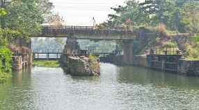 Water gates in Kerala Backwaters