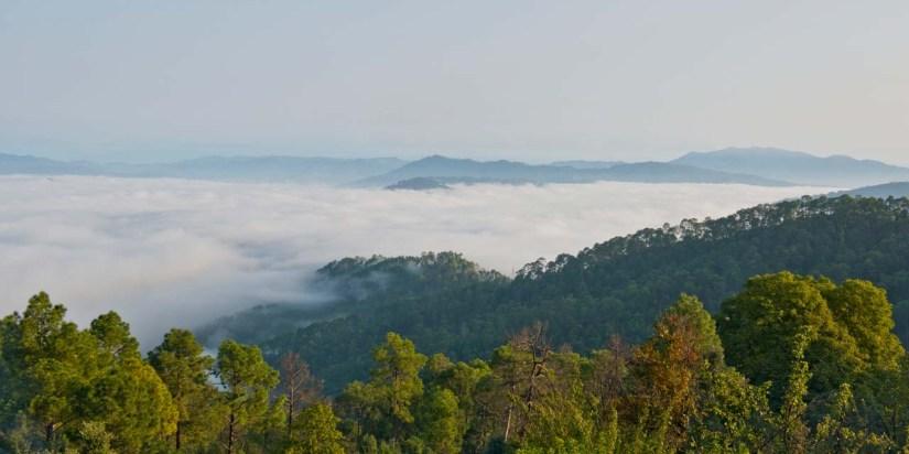 Mountains and clouds at Satkhol Himalayan Ashram