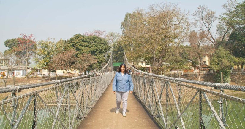 me at Bridge in Pobitora Rhino and Buffalo in Pobitora wildlife sanctuary