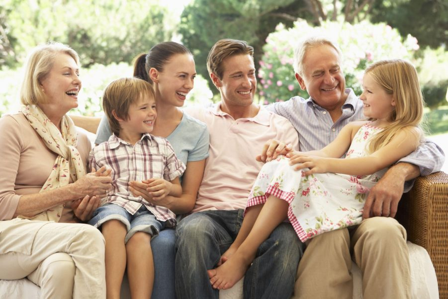 older active adults with family