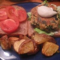 Spinach Chickpea Burgers w/Cumin Cashewnaise (GF,DF)